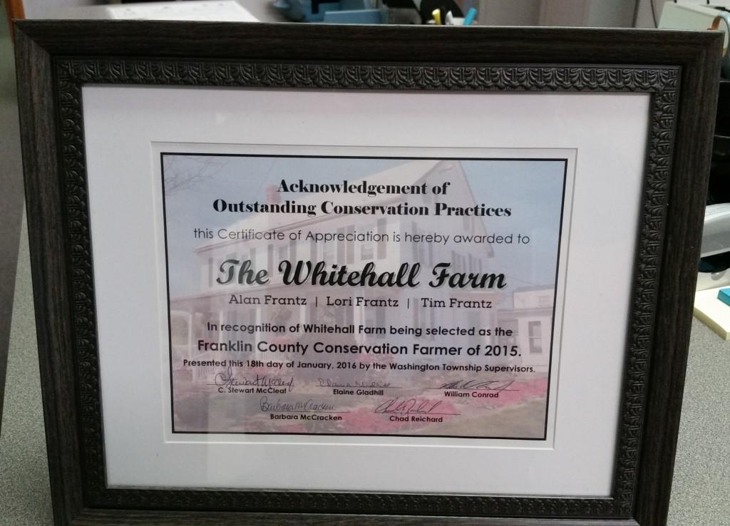 2016-01-18 Certificate Whitehall Farm
