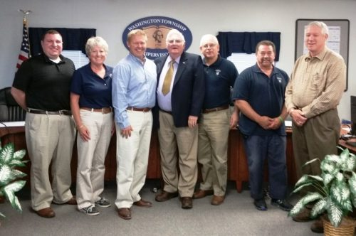L to R. Supervisors Chad Reichard, Barb McCracken, Senator Rich Alloway, Chairman of the Board Stewart McCleaf, Township Manager Mike Christopher, Jim Meek and Assistant Township Manager Jeff Geesaman.
